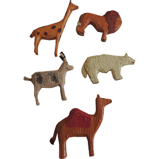Five German Larger Scaled Wood Noah's Ark Animals