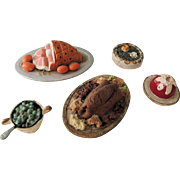 Five Miniature Doll House Foods with Turkey