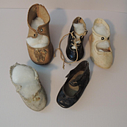 Five Old Single Shoes for German Dolls