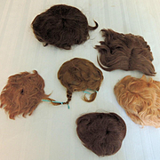 Six Vintage Older Doll Wigs for Bisque or Composition TLC