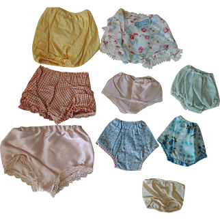 Assortment of Nine Vintage 1950's Undies for Composition and Hard Plastic Dolls