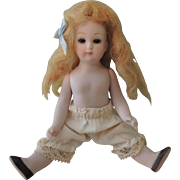 Lovely Little All Bisque Artist Doll with Glass Eyes