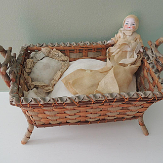 Sweet Woven Cradle with All Bisque German Candy Baby
