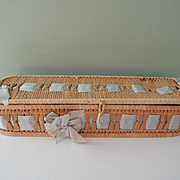 Nice Rectangular Woven Basket with Blue Woven Ribbon
