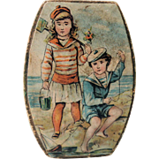 Pretty Little Lithoed Candy Box with Children at Beach