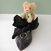 Miniature Jointed Golden Schuco Mohair Bear In Old Shoe
