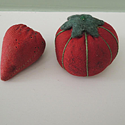 Old Red Tomato and Strawberry Emery Pin Cushions