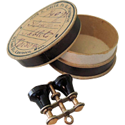 Tiny Black Binoculars for French Fashion Trousseau or Chatelaine In Pill Box
