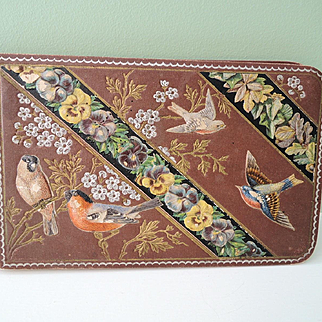 """Lovely Small """"Golden Butterfly Album"""" Autographs with Lovely Embossed Birds"""