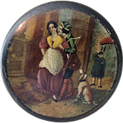 Lovely Old Round Black Painted Trinket Box with Painting