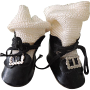 Nice Pair of Black Oil Cloth Shoes & Socks for Bisque or Composition Dolls