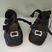 Very Clean Oil Cloth Doll Shoes with Buckles & Ties for German or French Bisque