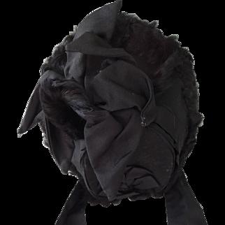 "Lovely Old Black ""Mourning"" Designer Hat * Mme. Tierce NY"