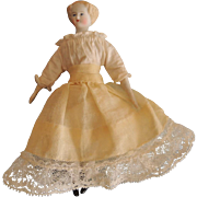 Sweet Miniature Parian Doll House Child with Molded Blond Curls