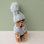 Cute Miniature German Schuco Teddy Bear with Sweater and Hat