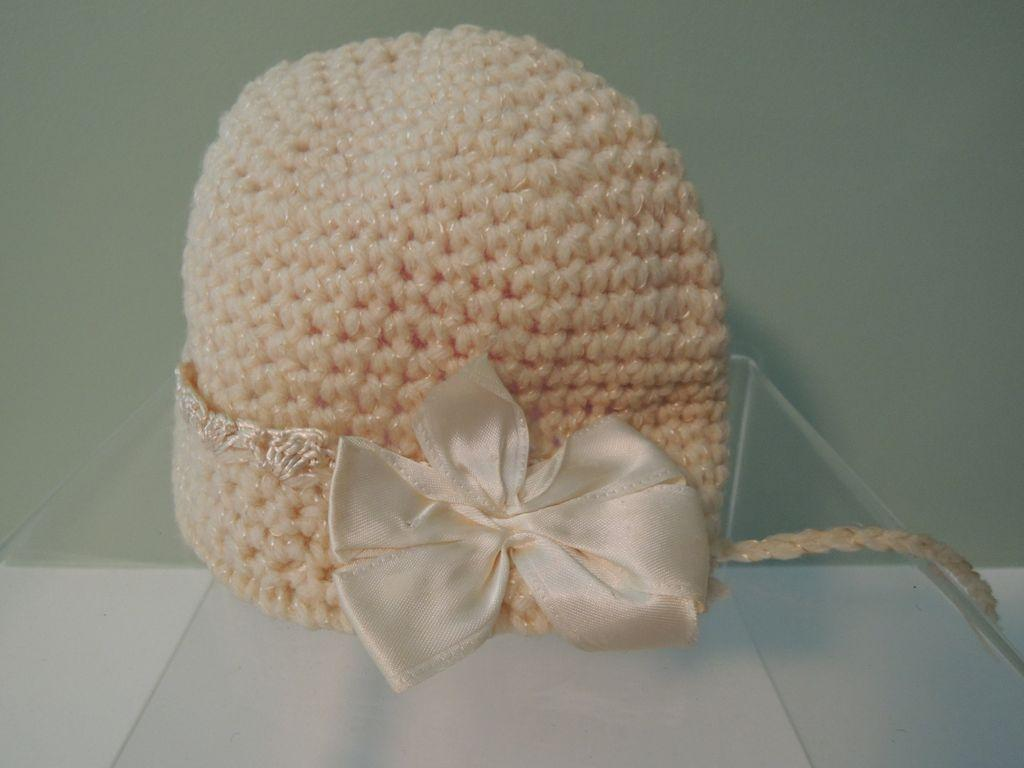 Darling Cream Knit Bonnet for Larger Baby Doll, Bisque Girl or Toddler