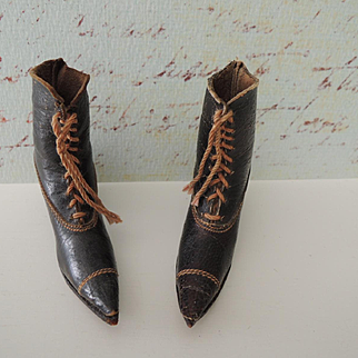 Lovely Delicate Leather Doll Boots or Salesman's Sample