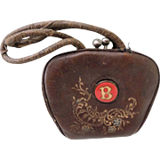 """Sweet Brown Leather Doll Purse with """"B"""""""
