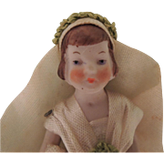 Tiny German All Bisque Doll Bride