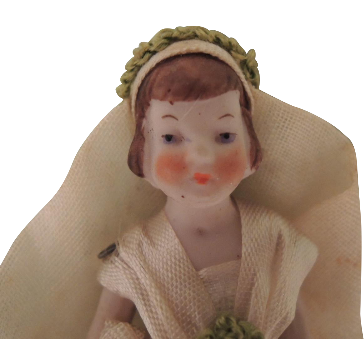Tiny German All Bisque Bride Doll