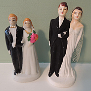 Vintage Bride and Groom Cake Toppers
