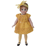 HTF 7 Inch German All bisque Flapper Girl with Long Yellow Stockings
