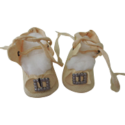 Nice Cream Oil Cloth Shoes with Buckle & Bows