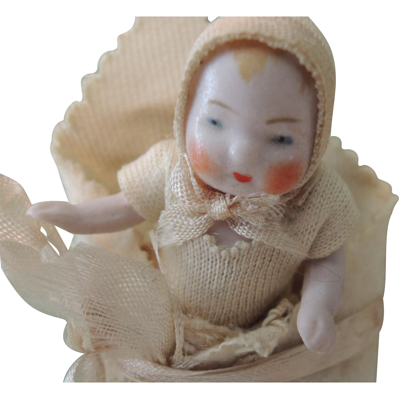 Adorable German All Bisque Candy Baby In Original Bunting