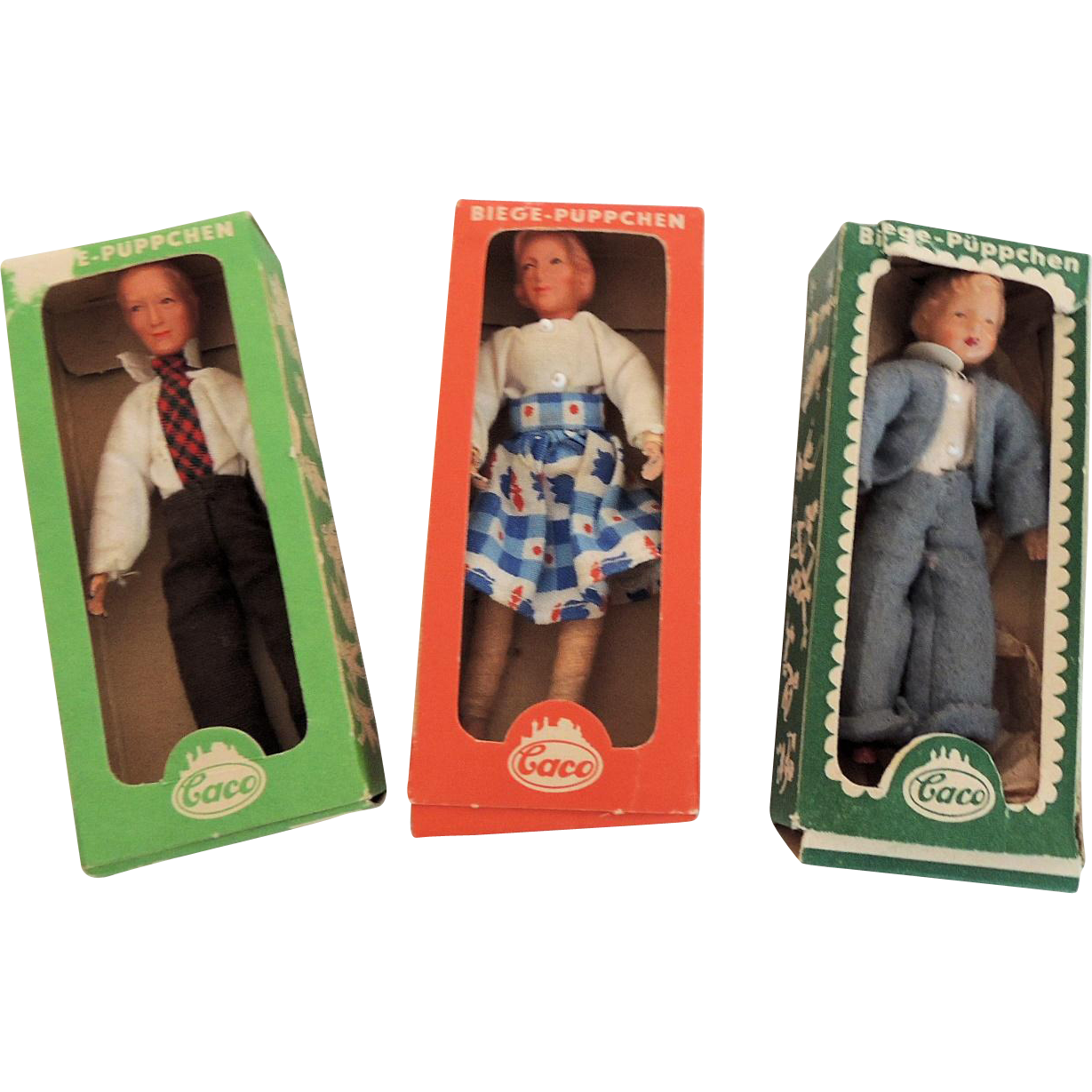 Three German Caco Doll House Family In Boxes