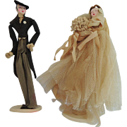 Lovely Vintage Crepe and Tulle Bride and Groom Cake Toppers