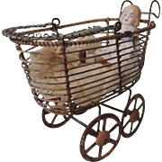 Nice Little Metal Doll Carriage with All Bisque Doll