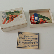 Dennison Company Patriotic Hatchet and Cherry Seals In Original Box