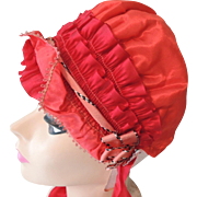 Lovely Bright Red Satin Woman's Bonnet Hat