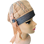 Lovely Tan Faille Woman's Cloche Style Hat with Blue and Peach Accents