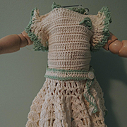 Darling Vintage Crocheted Dress In Cream with Mint Trim
