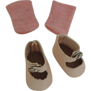 Lovely Oil Cloth Replacement Center Snap Shoes and Socks for 8 Inch Dolls like Vogue Ginny