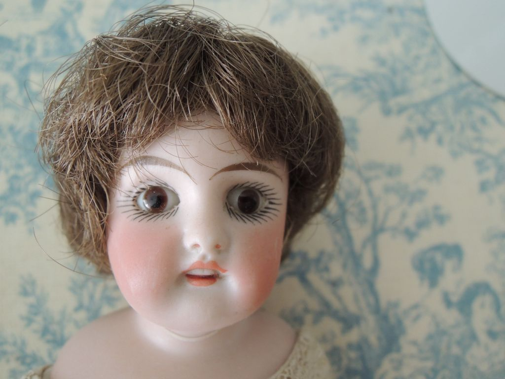 Sweet Little Dome Head Doll with Open Closed Mouth And Glass Eyes