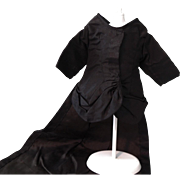 Lovely Long Black Taffeta Jacket for French Fashion Doll