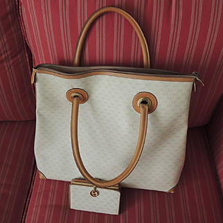 Well Loved Vintage Signature GG Italian Gucci Bag & Wallet