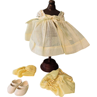 Darling Yellow Organdy Vogue Ginny Dress, Panties, Shoes and Socks