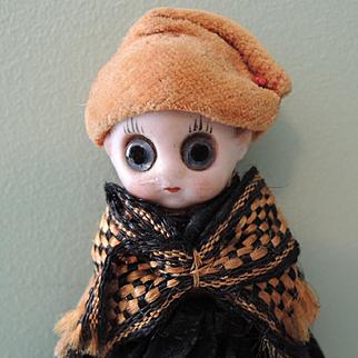 German Novelty Googly Glass Eyed Doll with Velveteen Body