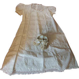 Elegant Long Baby Gown with Sweet Crocheted and Blue Silk Shoes