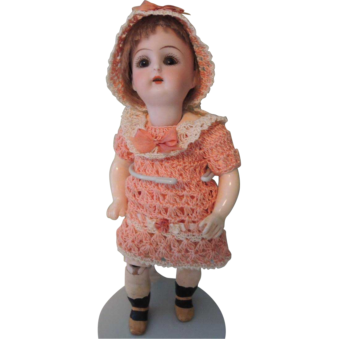 Tiny German Bisque Head Doll with HTF Body & Pierced Ears