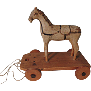 Nice Wooden Horse Pull Toy Perfect for Bisque Doll