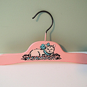 Very Sweet Pink Doll Or Childs Hanger with Kitten Design
