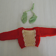 Knitted Sweater and Mittens for Dolls or Teddy Bears