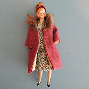 Lovely Doll House Lady with Bobbed Hair and Original Clothing