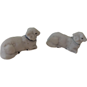 Pair of Tiny Bisque Lambs Perfect for Christmas Display or Dollhouse