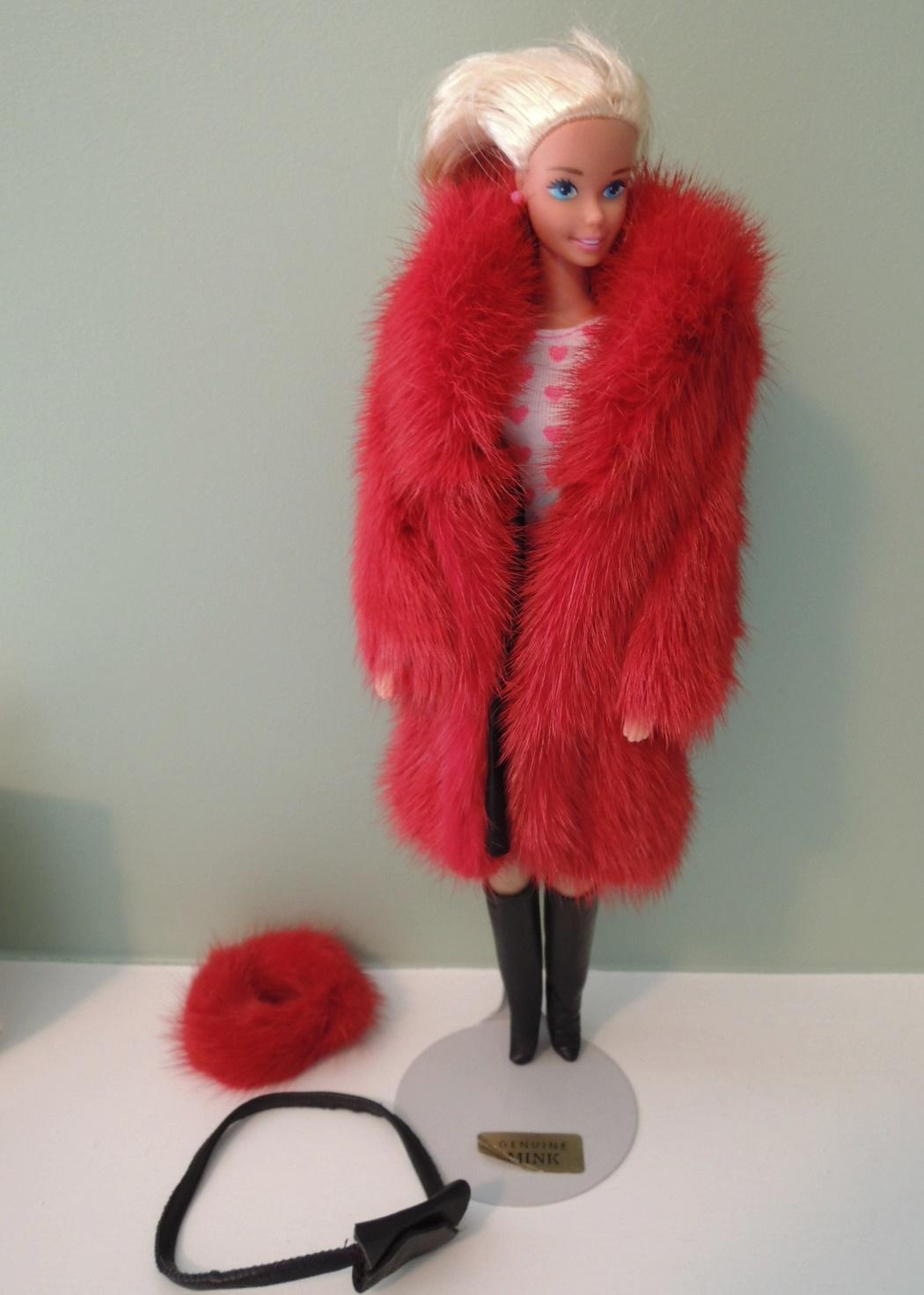 Barbie's Red Mink Coat Hat & Leather Boots by Lara's Fur Fashion