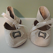 Nice White Kid Leather Shoes for Large Bisque Doll